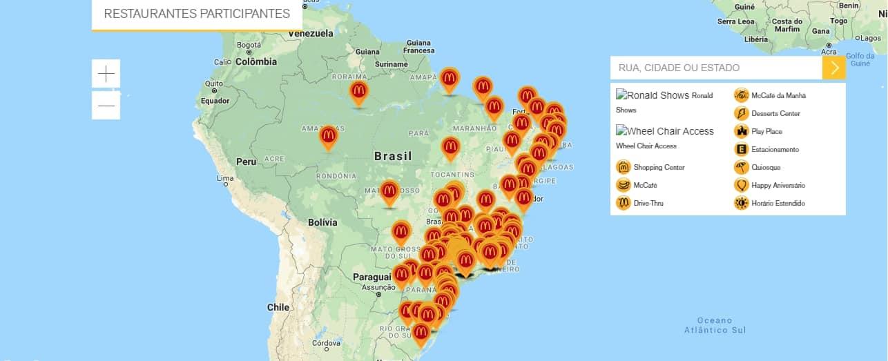 mapa restaurantes participantes mcdonalds
